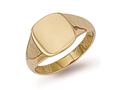 Yellow Gold Cushion Plain Signet Ring TGC-R0123