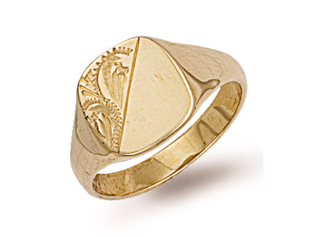 Yellow Gold Cushion Engraved Signet Ring TGC-R0124