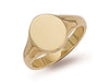 Yellow Gold Oval Plain Signet Ring TGC-R0125