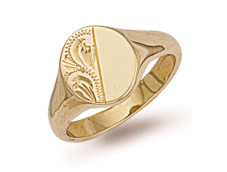 Yellow Gold Oval Engraved Signet Ring TGC-R0126