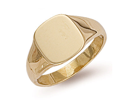 Yellow Gold Cushion Plain Signet Ring TGC-R0127