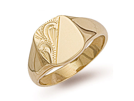 Yellow Gold Cushion Engraved Signet Ring TGC-R0128