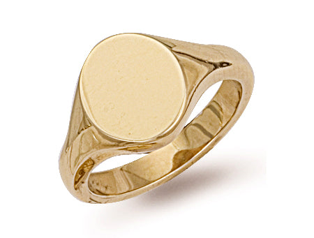 Yellow Gold Oval Plain Signet Ring TGC-R0129