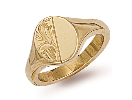 Yellow Gold Engraved Oval Signet Ring TGC-R0130