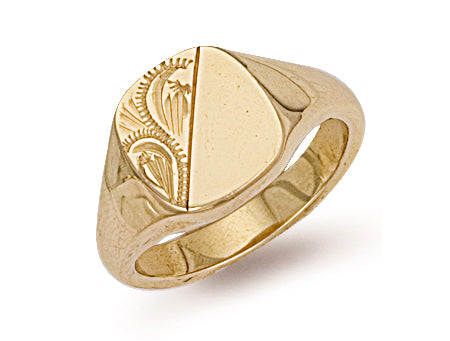 Yellow Gold Cushion Engraved Signet Ring TGC-R0132