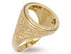 Yellow Gold Half Engraved Sides Sovereign Ring TGC-R0013H