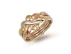 White Yellow & Rose Gold 4 Piece Puzzle Ring TGC-R0141