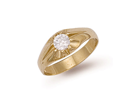 Yellow Gold Cz Gipsy Ring TGC-R0150