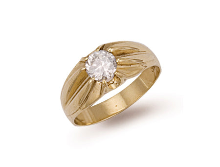 Yellow Gold Cz Gipsy Ring TGC-R0151