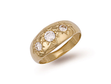 Yellow Gold Gents 3 Stone Cz Ring TGC-R0152
