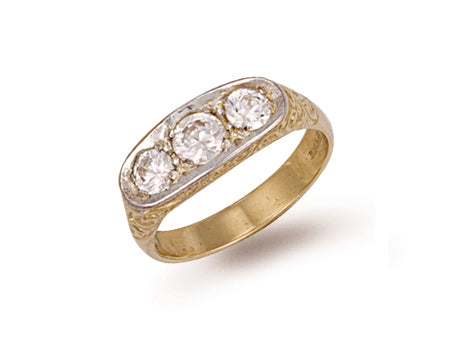 Yellow Gold Gents 3 Stone Cz Ring TGC-R0153