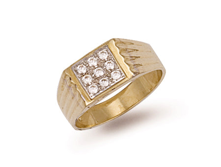 Yellow Gold Square Top Gents Cz Ring TGC-R0154