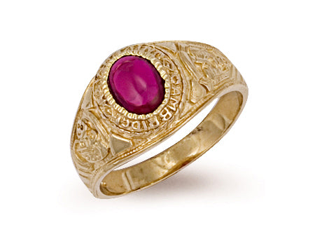 Yellow Gold Red Cabochon College Ring TGC-R0155