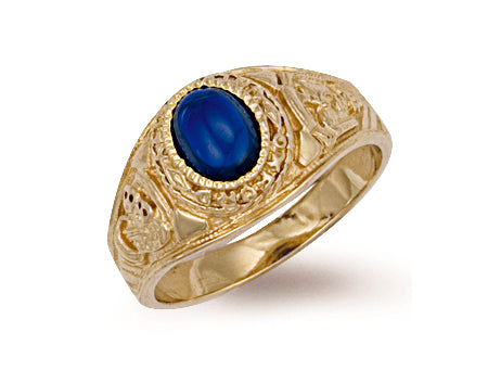 Yellow Gold Blue Cabochon College Ring TGC-R0156