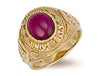 Yellow Gold Red Cabochon London University Ring TGC-R0157