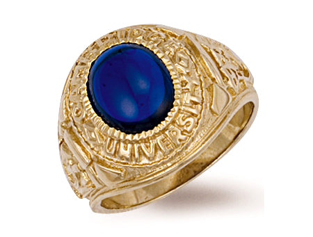 Yellow Gold Blue Cabochon University/College Ring TGC-R0158