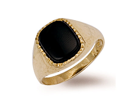 Yellow Gold Plain Onyx Ring TGC-R0167