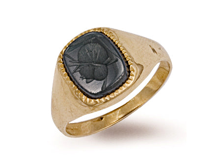 Yellow Gold Plain Hematite Ring TGC-R0168
