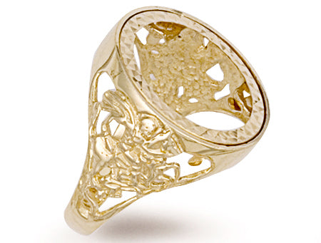 Yellow Gold Full George & Dragon Sovereign Ring TGC-R0017F