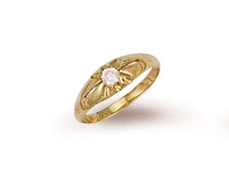 Yellow Gold Cz Baby Gipsy Ring TGC-R0191