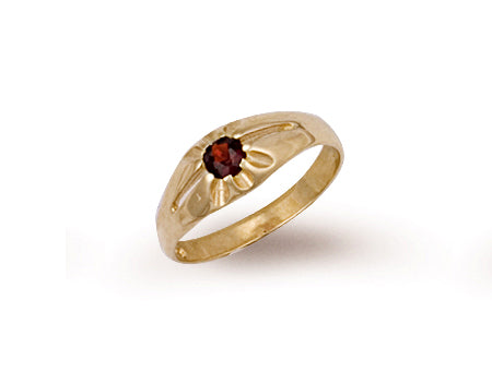 Yellow Gold Garnet Baby Gipsy Ring TGC-R0192