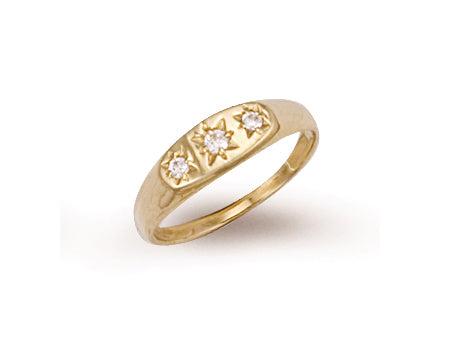 Yellow Gold Cz 3 Stone Baby Gipsy Ring TGC-R0194