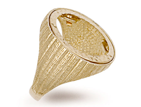 Yellow Gold Half Barked Sides Sovereign Ring TGC-R0019H