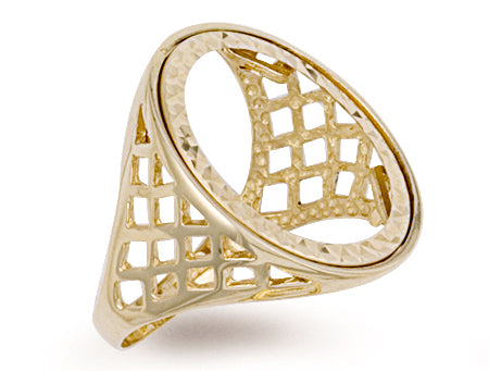 Yellow Gold Full Basket Sides Sovereign Ring TGC-R0001