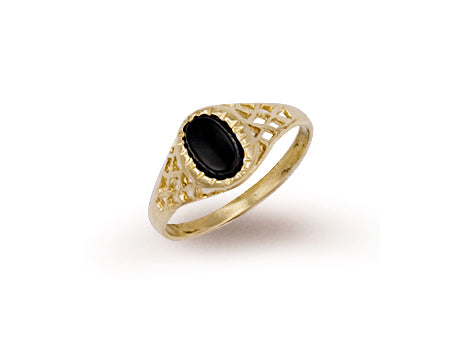 Yellow Gold Baby Oval Onyx Ring TGC-R0203