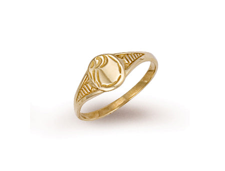 Yellow Gold Baby Engraved Oval Signet Ring TGC-R0205