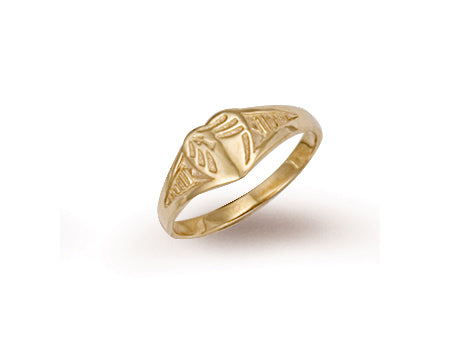 Yellow Gold Baby Engraved Heart Signet Ring TGC-R0206