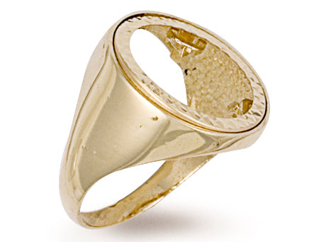 Yellow Gold Half Plain Sides Sovereign Ring TGC-R0020H
