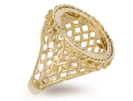 Yellow Gold Half Basket Side Sovereign Ring TGC-R0021H