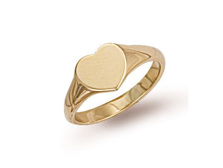 Yellow Gold Heart Shaped Maiden Signet Ring TGC-R0227
