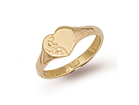 Yellow Gold Heart Shaped Engraved Maiden Signet Ring TGC-R0228