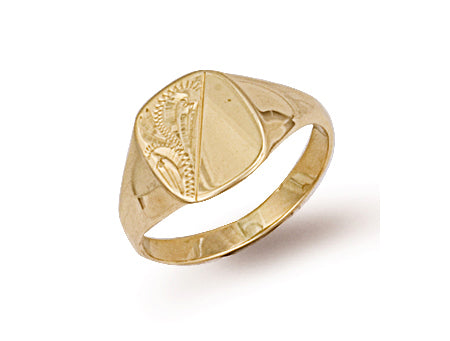 Yellow Gold Cushion Engraved Maiden Signet Ring TGC-R0229