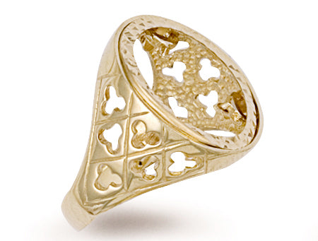 Yellow Gold Half Fancy Sides Sovereign Ring TGC-R0022H
