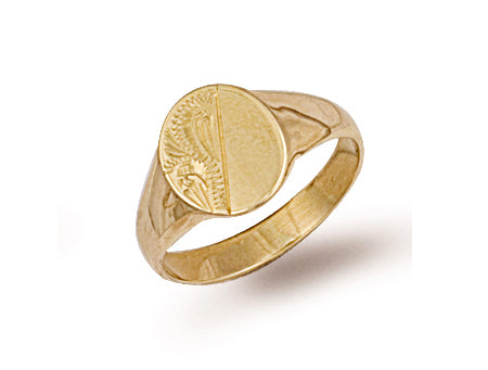 Yellow Gold Engraved Maiden Oval Signet Ring TGC-R0230