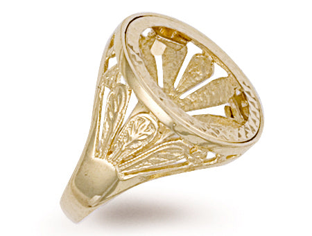 Yellow Gold Half Fancy Sides Sovereign Ring TGC-R0023H