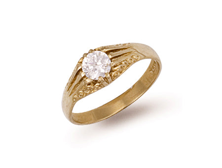 Yellow Gold Cz Gipsy Ring TGC-R0246