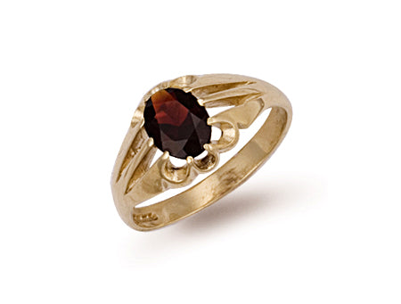 Yellow Gold Garnet Gipsy Ring TGC-R0248