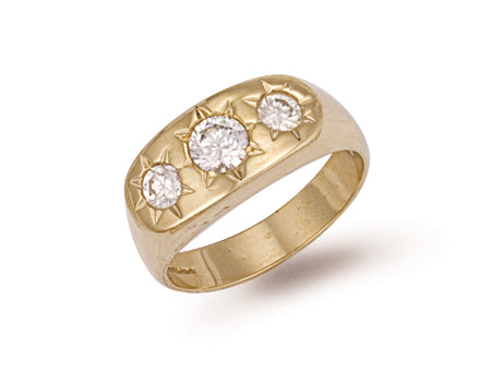 Yellow Gold Gents 3 Stone Cz Ring TGC-R0249