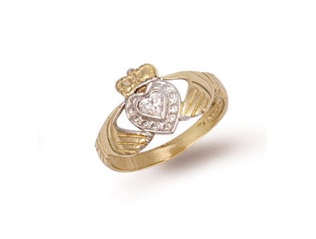 Yellow Gold Cz Claddagh Ring TGC-R0254