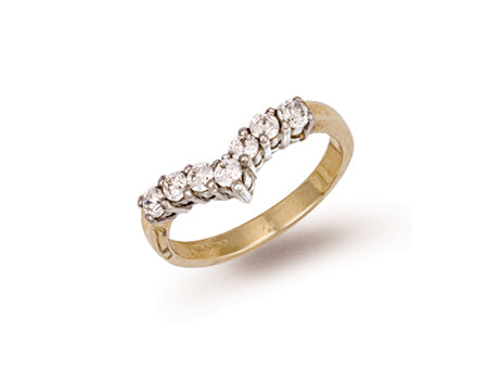 Yellow Gold Cz Wishbone Ring TGC-R0260