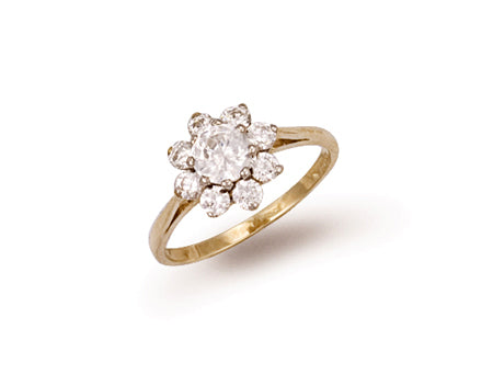 Yellow Gold Cz Cluster Ring TGC-R0262