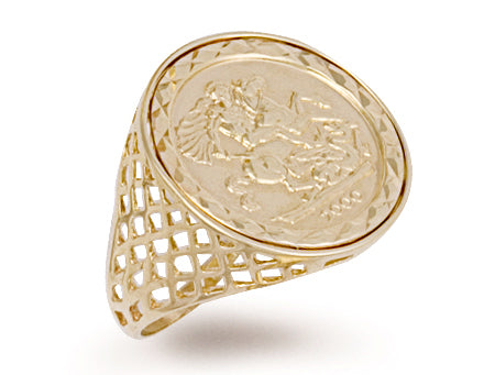 Yellow Gold Half Coin Ring TGC-R0027