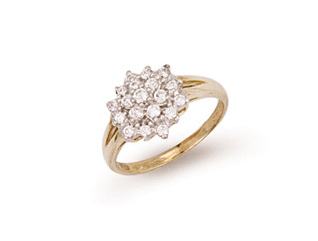 Yellow Gold Cz Cluster Ring TGC-R0282