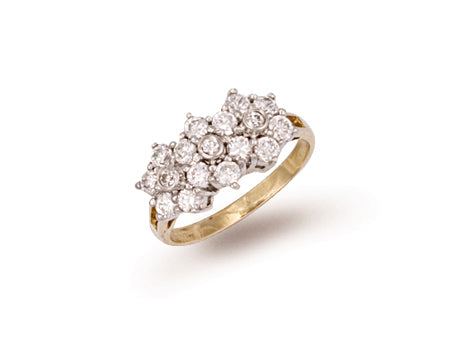 Yellow Gold Cz Cluster Ring TGC-R0285
