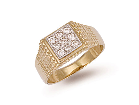 Yellow Gold Square Top Gents Cz Ring TGC-R0288