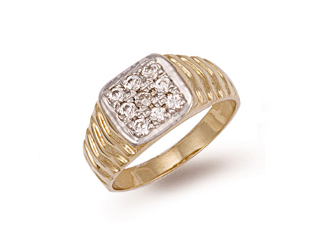 Yellow Gold Square Top Gents Cz Ring TGC-R0289